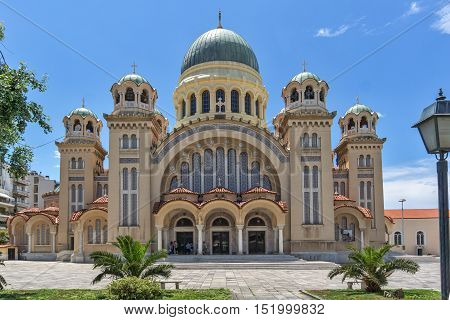 Frontal View of Saint Andrew Church, the largest church in Greece, Patras, Peloponnese, Western Greece
