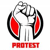 Protest, rebel vector revolution art poster background. Symbol fist for revolution and strike illustration poster