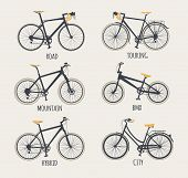 Vector set of bicycles in flat style. Guide of bike types. Poster with racing/ road bike touring bike mountain bike bmx hybrid and city bike. poster