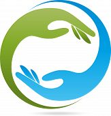 Two hands in green and blue, helper, physiotherapist or curative practitioner logo poster