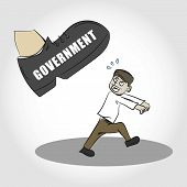 Oppressed by Government Illustration. Isolated. Scared Citizen. poster