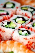 Closeup japanese sushi. Can be used as a background. poster