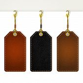 Set of leather price tags. Vector eps10 illustration poster