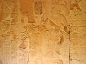 Stone carving with a maya chief - Palenque - Mexico. poster