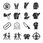 Sexual abuse, harassment, violence vector icons set. Touch knee and breast illustration poster