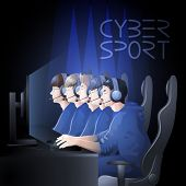 Team of five players sitting at the table in front of computer. Side view. Vector participants of cyber sport tournament poster