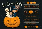 Halloween party invitation with halloween elements and place for text. Funny kids in halloween costumes mummy, vampire and witch. Cartoon Halloween kids characters. Halloween design elements. Flyer on Halloween party night. Layout for halloween ad. poster