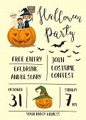 Halloween party poster with halloween elements and place for text. Funny kids in Halloween costumes mummy, vampire and witch. Cartoon Halloween kids characters. Halloween design elements. Flyer on Halloween party night. Layout for halloween ad. poster