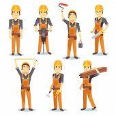 Construction engineering industrial workers working with building tools and equipment vector people character set. Architect and foreman, carpenter and repairman illustration poster
