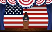 Presidential election banner background. President podium with unknown person on stage and United state of America flag design for US Presidential election 2016. Vector illustration. poster