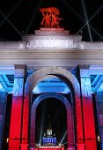 The central gate of All-Russian Exhibition center in festive lighting Moscow Russia poster
