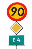 Swedishroad signs combination with a speed limit of 90 km / h primary road and the road number E4 mounted on a pole isolated on white background. poster