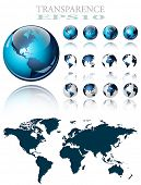 3d world map over the Earth Globe. 4 different views - vector illustration poster