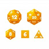 Vector icon set of dice for fantasy RPG tabletop games. Standard board game polyhedral dice with different number of sides. poster