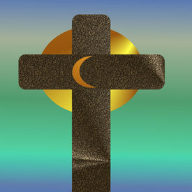 Cross with moon and sun