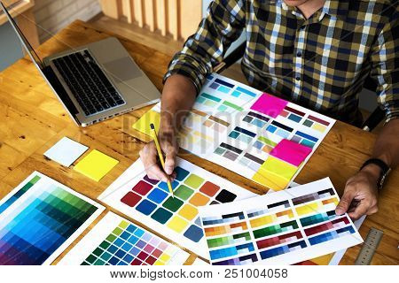 Graphic Designers Choose Colors From The Color Bands Samples For Design .designer Graphic Creativity