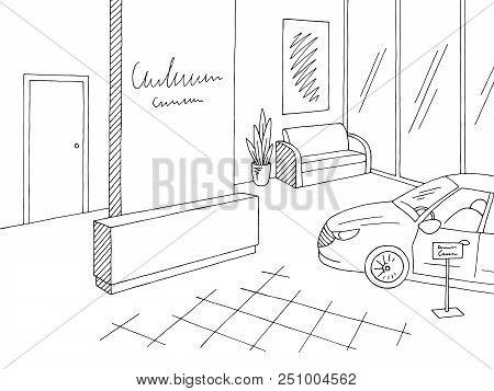 Car Showroom Graphic Black White Store Interior Sketch Illustration Vector