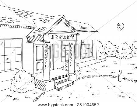 Library Building Exterior Graphic Black White Sketch Illustration Vector