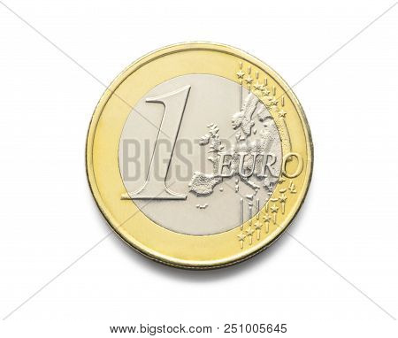 One Euro Coin. 1 Euro Coin Isolate On White Background. Coin Of European Realistic Photo Image With