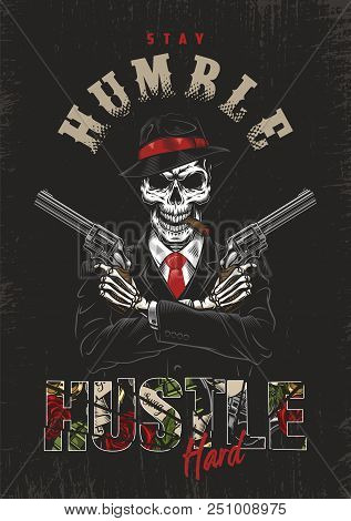 Skeleton Gangster With Revolvers In Suit. Vector Poster Illustration