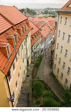 Top View Of Narrow Historical Street With Cobble Stones In Meissen, Germany.