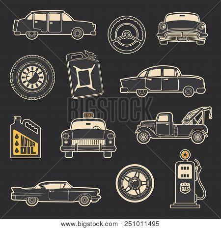 Retro Car And Transport Icons Of Old Taxi, Wheel And Tow Truck, Motor Oil And Gasoline Can, Steering
