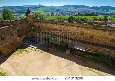 Stara Lubovna, Slovakia - Aug 28, 2016: Inner Courtyard Of Old Medieval Castle. Popular Tourist Dest