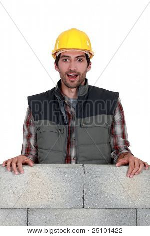 Surprised construction worker