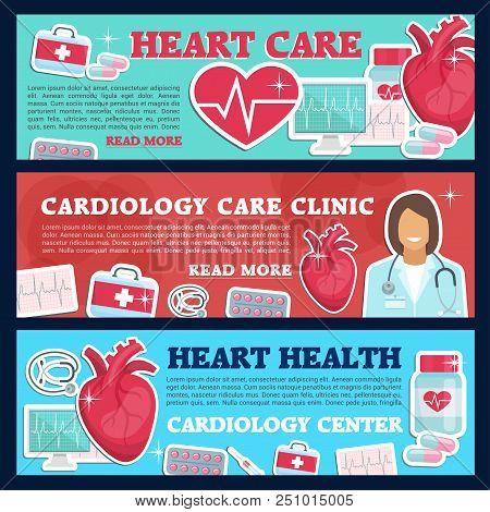 Cardiology Medicine Banner For Heart Health Care And Cardiac Clinic. Cardiologist Doctor, Heart And