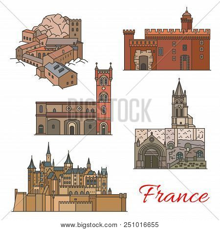 Travel Landmarks Of France Thin Line Icons With French Building. St Jacques Church, Abbey Of St Mart