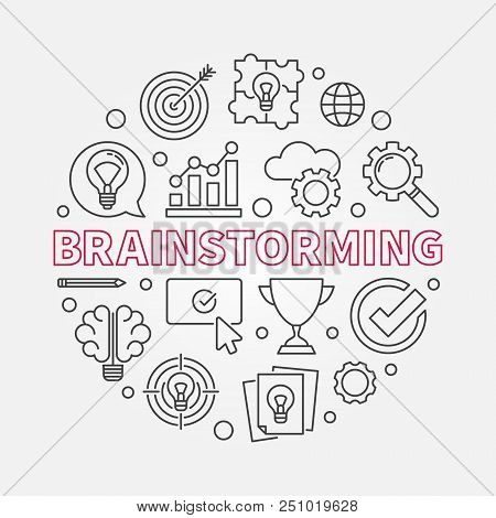Brainstorming Creative Round Vector Outline Illustration. Brainstorm Concept Circular Sign