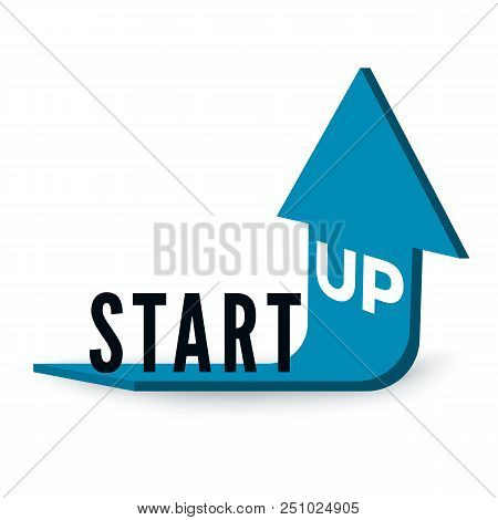 Start Up Business Concept. Text Start Up On Blue Arrow Which Is Bent And Directed Upwards. Vector Il
