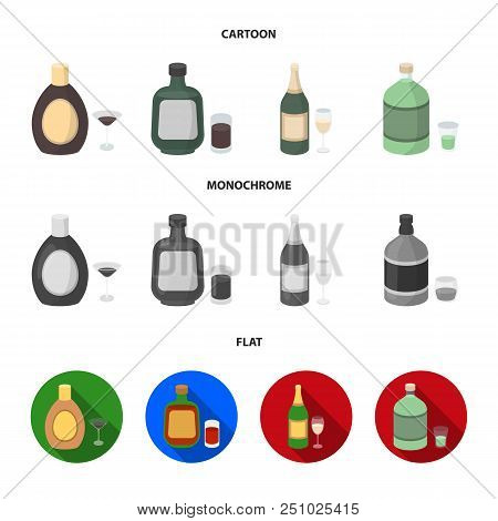 Liquor Chocolate, Champagne, Absinthe, Herbal Liqueur.alcohol Set Collection Icons In Cartoon, Flat,