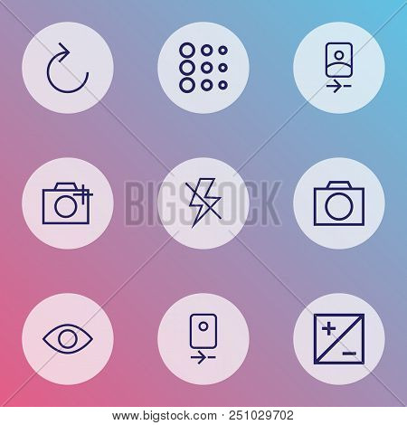 Picture Icons Line Style Set With Camera Rear, Lightning, Reload And Other Add A Photo Elements. Iso