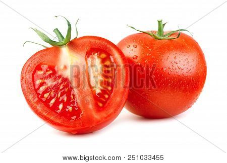 Close-up View Of Ripe Red Tomatoes Isolated On White Background