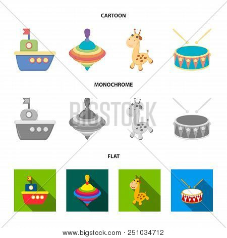 Ship, Yule, Giraffe, Drum.toys Set Collection Icons In Cartoon, Flat, Monochrome Style Vector Symbol