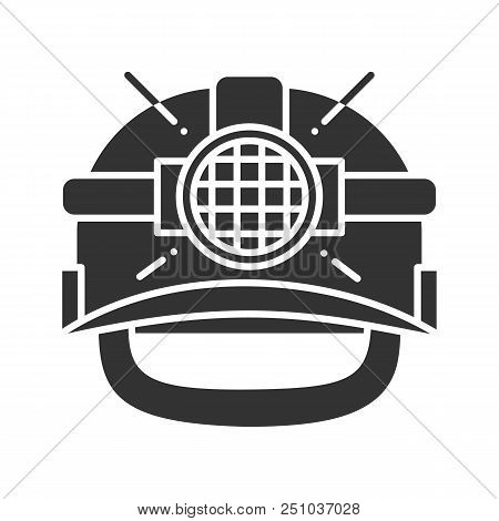 Industrial Safety Helmet Glyph Icon. Silhouette Symbol. Miner Hard Hat With Light. Negative Space. V