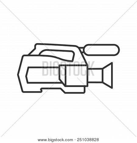 Video Camera Linear Icon. Thin Line Illustration. Videotaping. Contour Symbol. Vector Isolated Outli