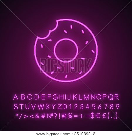 Bitten Donut Neon Light Icon. Bagel. Glowing Sign With Alphabet, Numbers And Symbols. Vector Isolate