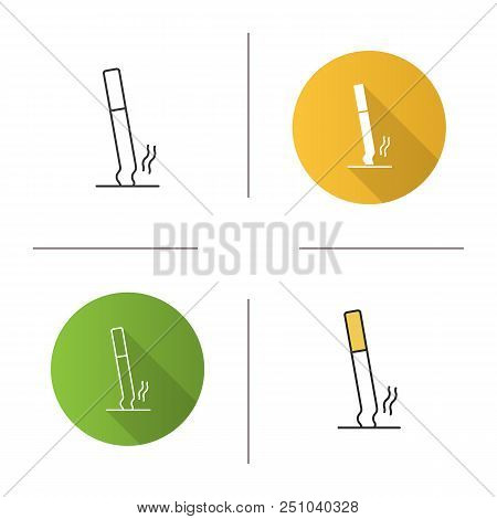 Stubbed Out Cigarette Icon. Stop Smoking. Flat Design, Linear And Color Styles. Isolated Vector Illu