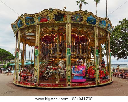 Cannes, France - June 28, 2018: Old Merry-go-round At Croisette Promenade. First French Carousel Was