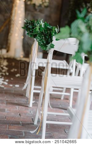 Elegant Decoration By Greens Of A Wooden Back Of A Chair. Convenient And Stylish White Chairs