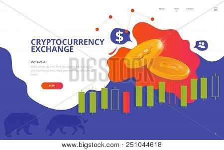 Cryptocurrency Market Illustration. Great As Cryptocurrency Site Wireframe, Bitcoin Business Web Pag