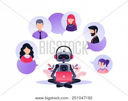 Vector Illustration, Customer Service, Chatbot Hotline Operator Advises Client, Online Global Techni