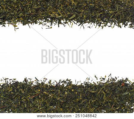 Dry Green Tea Leaves Isolated On White Background