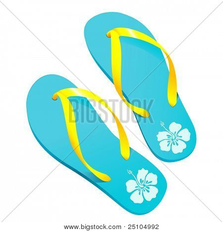 a pair of colorful flipflops/beach-sandals with hibiscus-pattern (vector)