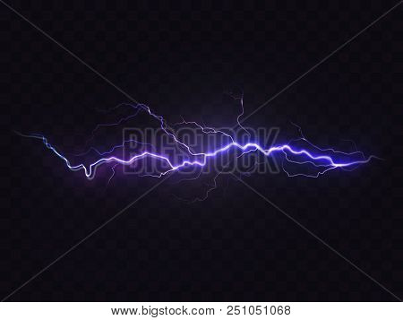 Vector Realistic Lightning Isolated On Black Background. Natural Light Effect, Bright Glowing. Magic