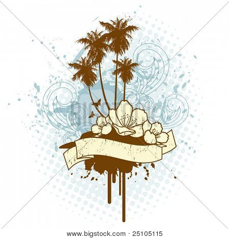 tropical island emblem - rasterized version of image no. 15724657