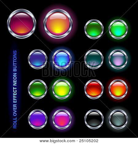 conjunto de botones de cristal de neón brillante para efectos de rollover (off/on pares)