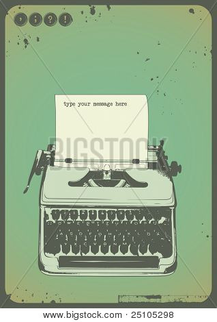 vintage writing background with oldfashioned typewriter and a blank sheet of paper poster